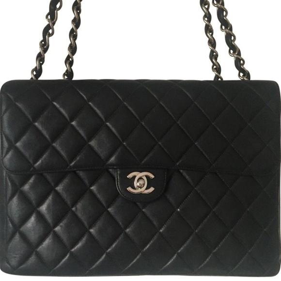 40ce3f847948ca CHANEL Handbags - CHANEL JUMBO Black Lambskin Single Flap Bag